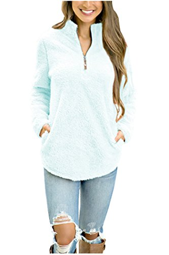 Aifer Women Casual Sherpa Fleece Pullover Zipper Collar Outwear Sweatshirt Winter Coat