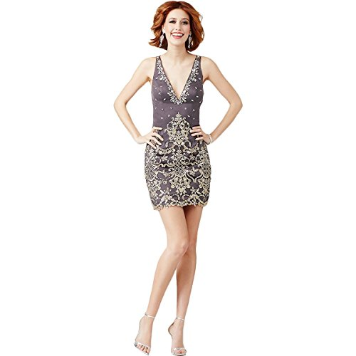 - JVN by Jovani Womens Embellished Applique Semi-Formal Dress Gray 2