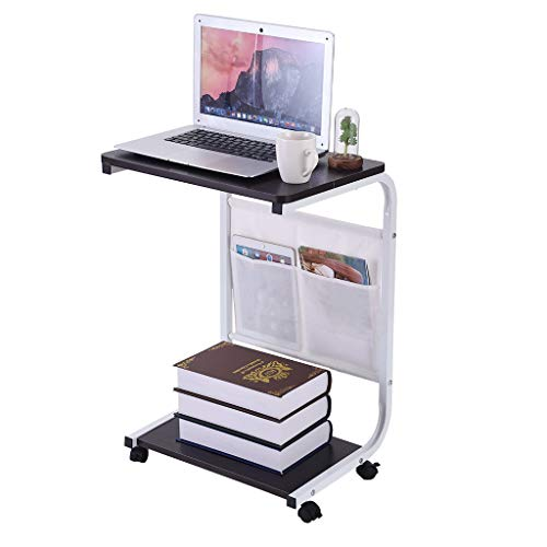 Hohaski Coffee Table Computer Table, Household Removable Computer Desk Modern Simple Style PC Laptop Study Table Office Desk Workstation for Home Office wiht Two Hanging Bags(shipfrom US) (Black)