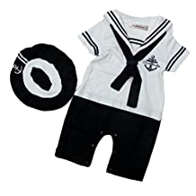 StylesILove Baby Boy Sailor Costume Romper and Hat 2-piece (95/18-24 Months, White)