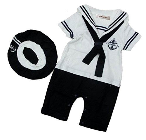 Sailor Costumes Boy (StylesILove Baby Boy Sailor Costume Romper and Hat 2-piece (95/18-24 Months, White))