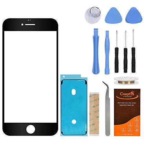 CrazyFire Compatible Black New Front Outer Glass Lens Screen Replacement for iPhone 6/6s 4.7 Inch with Adhesive Tape+Tools Kit