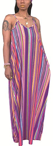 Women's Casual Loose Plus Size Scoop Neck Long Maxi Sundress Sexy Sleeveless Spaghetti Strap Colorful Pinstripe Floor Length Stretchy Dress Pockets