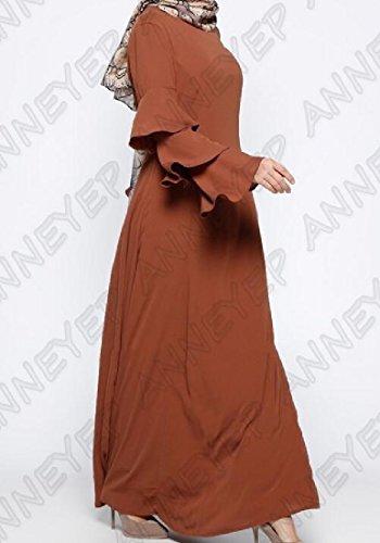 Confortables Femmes Encolure Ras Du Cou Musulman Abaya Pur Robe À Manches Longues Couleur Brune