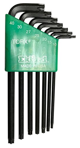 Eklind 10707 7 Piece Long Series Security Torx L-Key Set with Holder Torx Sizes: T10 - T40 -