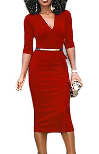 Bodycon Cocktail Business Wine Jaycargogo Long Sleeve Dress Retro Red Work Pencil Women wSpSqHZYAx