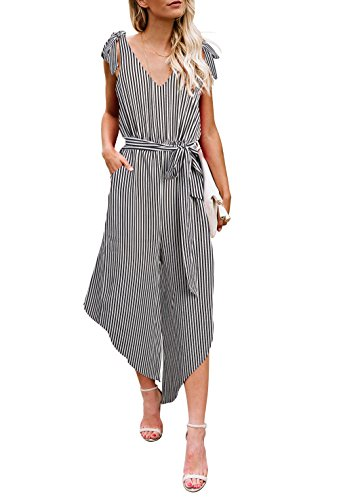 BELONGSCI Women Outfit Sleeveless Shoulder Bandage Waistband Sexy V-Neck Wide Leg Long Jumpsuit with Belt (Stripe, - Waistband V-neck