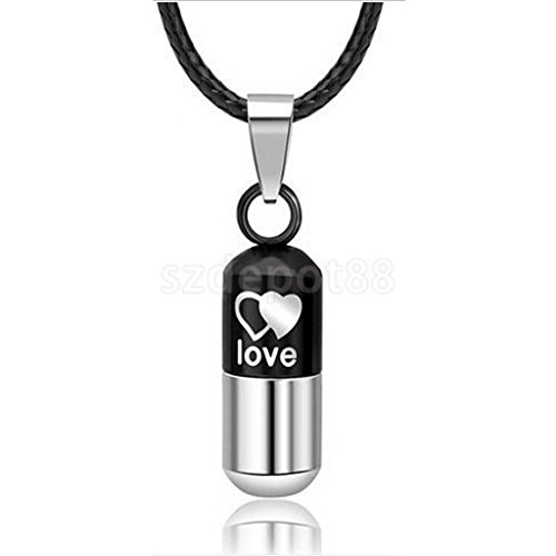 Stainless Steel Pill Capsule Charm Medical Holder Pendant Necklace Leather Chain Black W Silver by uptogethertek
