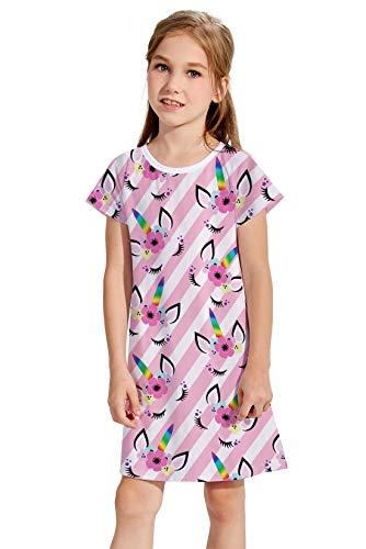 Girls Cats Dress Size11 Fashion 3D Print Kitty Dresses Short-Sleeve T-Shirt Sundress for Dancing