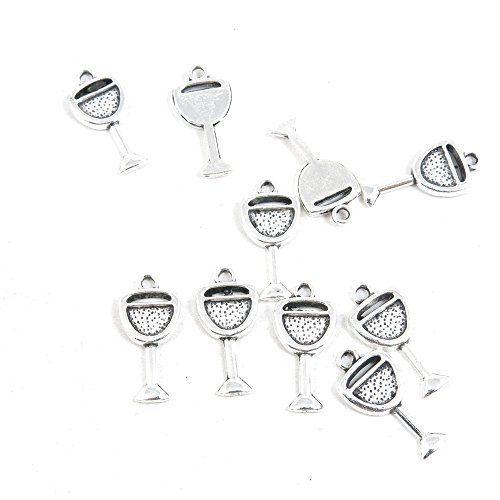 210 Pieces Antique Silver Tone Jewelry Making Charms Findings Fashion Wholesale Supplies Pendant Lots Bulk Supply SC2964 Wine Juice Cup Glass