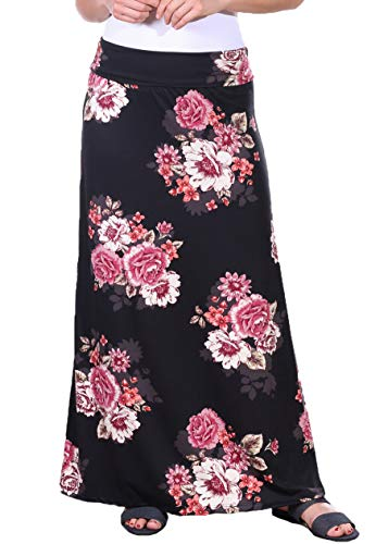 Popana Womens Casual Long Convertible Print Maxi Skirt Plus Size - Made in USA DT08 Small