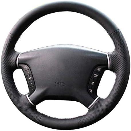JJKCEA Leather Steering Wheel Cover Black Car Steering Wheel Coverfor Mitsubishi Pajero 20072014 Galant 20082012