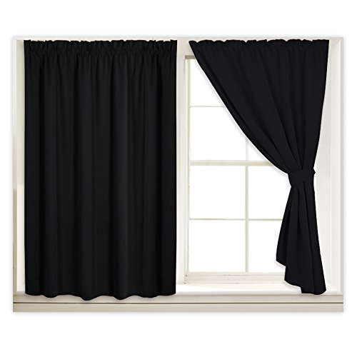 Shade Block Light (Vertical Blackout Blinds Curtains Drapes - Thermal Insulated Hookless Temporary Draped Sticky Stickers Shades Light Block for Small Window with 2 Ropes, Each Panel W 40