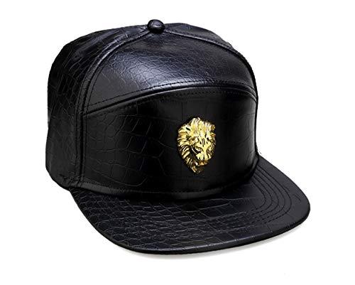 león HipHop cuero de Snapback de plana sombrero negro sombrero la cabeza del Gorra de del manera ala de patrón cocodrilo la del Hombre PU de MCSAYS béisbol gRBYYT