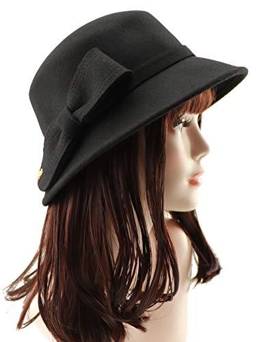 Loufmive Women's Wool Felt Church Bowler Hat Cloche Cap Bucket Hat with Bow Accent(Black) - Felt Bucket