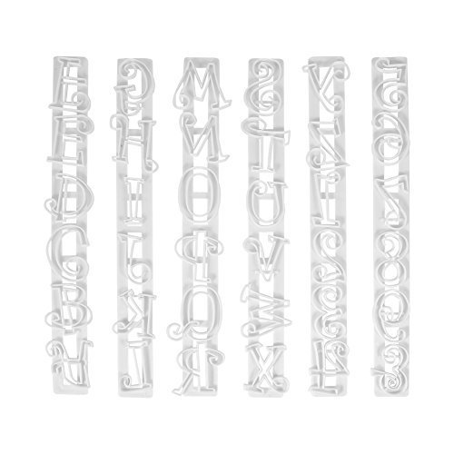 Yosoo 6Pc Alphabet Number Letter Cake Decor Mold Fondant Icing Cutter Sugarcraft Mould