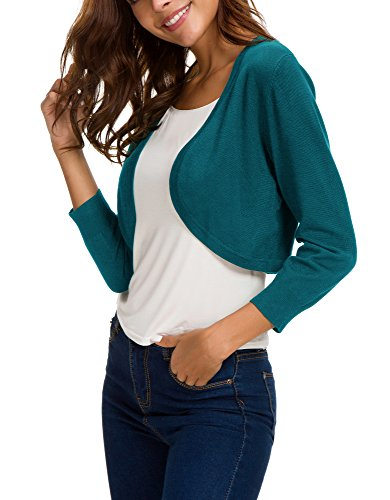 EXCHIC Women's Trendy Bolero Shrug Open Front Cropped Cardigan 3/4 Sleeves Short Coat/Sweater (L, Peacock Blue) by EXCHIC (Image #6)