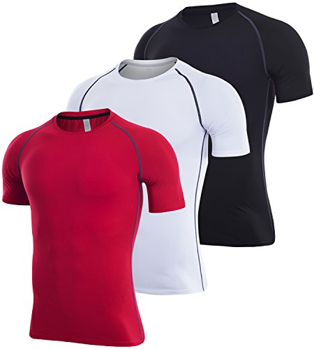 Lavento Men's Compression Shirts Dri Fit Short-Sleeve Workout T-Shirts (3 Pack-3501 Black/Gray/Red,X-Large) ()