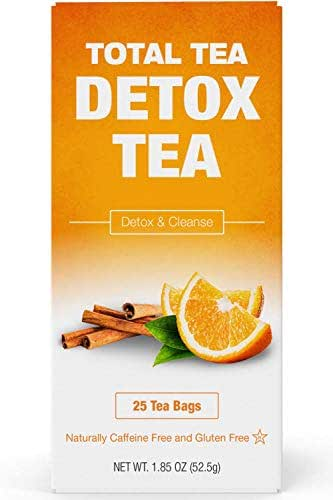 Total Tea Gentle Detox Tea. Caffeine Free - Keto Diet - Gluten Free Herbal Tea Cleanse Supplement with Senna - Liver Detox Cleanse for Weight Loss - Colon Cleanse Sleep Tea Paleo - 25 Sealed Teabags