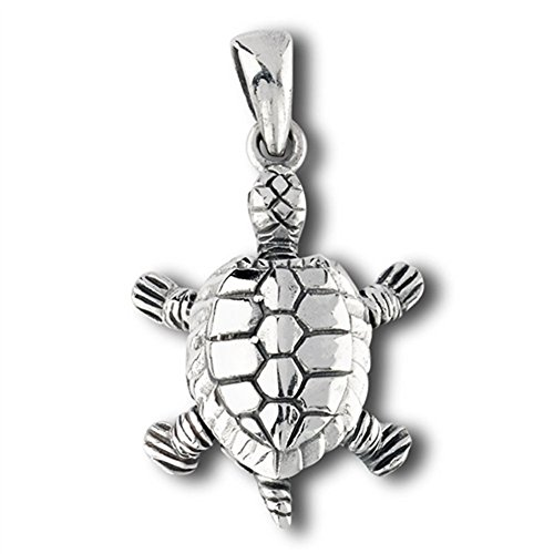 Tortoise Sea Turtle Pendant .925 Sterling Silver Shell Detailed Design Charm - Silver Jewelry Accessories Key Chain Bracelet Necklace Pendants