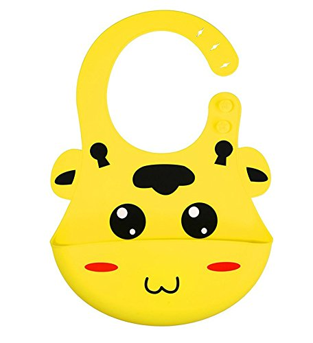 Good Quality Waterproof Silicone Bib 3D Design Cartoon Soft Baby Bibs Keep Stains Off! Easy to Clean! BPA Free! (Yellow)