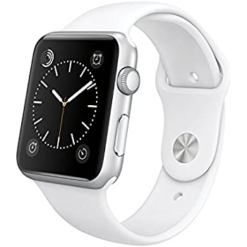 "Original Apple Watch 42mm (fits 5.5"" - 8.2"" wrists) - Silver Aluminum Case, White Sport Band Edition (Retail Packaging)"