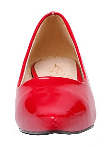 Toe Womens Leather AmoonyFashion Pumps Shoes Heels Pointed Low Patent Red Solid waqdBqUE