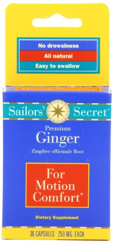 Sailors' Secret Premium Ginger | The Natural Remedy for Motion Sickness 36 Capsules/250 MG