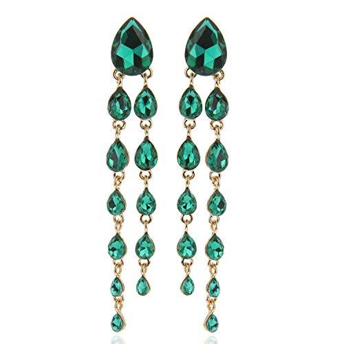Tear Drop Rain Cascade Austrian Crystal Embellished Post Dangle Earrings in Green