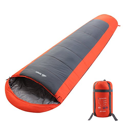SEMOO Lightweight Mummy Camping Sleeping Bag for 4 Season Extreme Weather with a Compression Bag 23F/-5C - Silverton Four Light