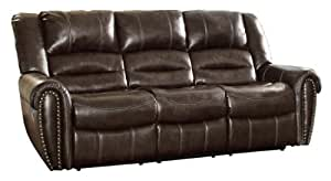Homelegance 9668BRW-3 Double Reclining Sofa, Brown Bonded Leather