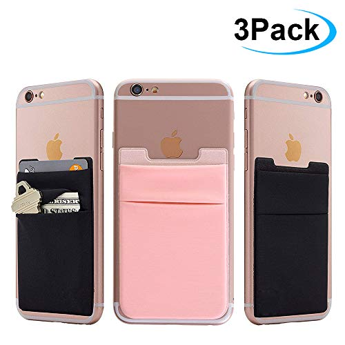 Cell Phone Card Wallet, 3Pack Phone Card Holder AMA Forest Ultra Slim Silicone 3M Self Adhesive Stick on Wallet for ID Credit Card Phone Sleeves Pocket for iPhone Android Samsung Galaxy Black+ Pink