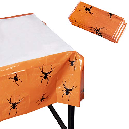 (Juvale Blue Panda Halloween Party Tablecloth - 3-Pack Disposable Plastic Rectangular Table Covers - Halloween Party Decoration Supplies, Scary Spiders Design, 54 x 108)