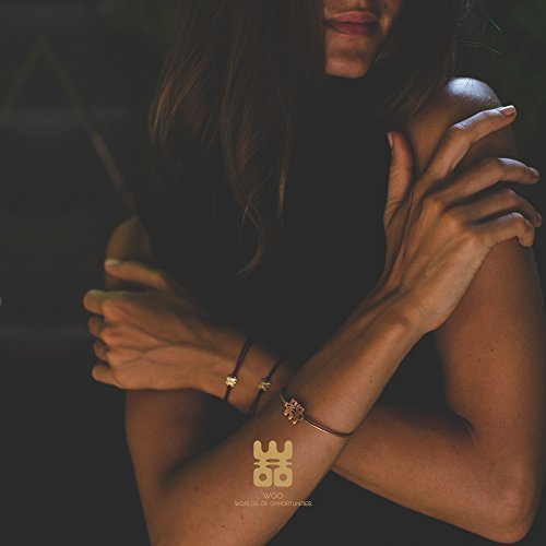 WOO 24ct Rose Gold-Plated Bangle | Exclusive Handcrafted Hook Bracelet Heavy-Plated with Real Rose Gold | Jewelley with Purpose from Worlds Of Opportunities by WOO (Image #3)