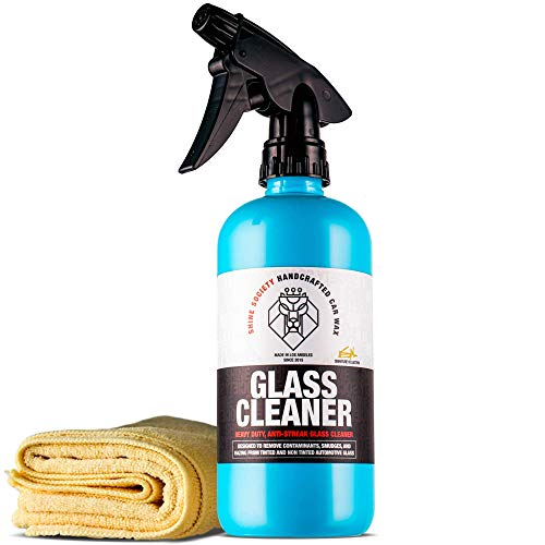 Shine Society Glass and Window Cleaner, 100% All-Natural Anti Streak Formula, Made for Tinted and Non-Tinted Car Windows with Microfiber Towel Included (18 oz.)
