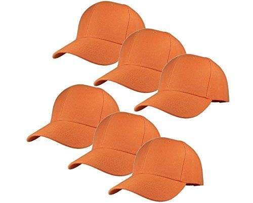 Gelante Plain Blank Baseball Caps Adjustable Back Strap Wholesale Lot 6 Pack - 001-Orange-6Pcs -