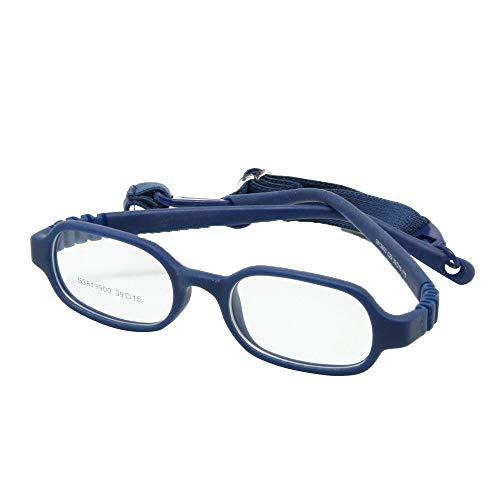 EnzoDate Baby Girls & Boys Optical Glasses with Strap Size 39/15 No Screw, One-Piece Children Eyeglasses (Navy)