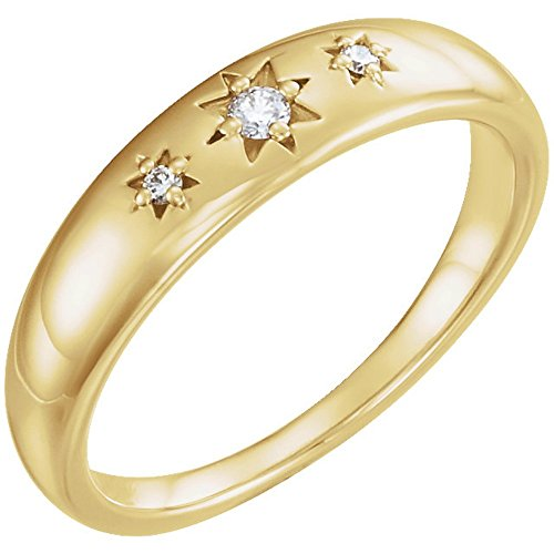 Diamond Starburst Ring, 14k Yellow Gold (.05 Ctw, G-H Color, I1 Clarity), Size 7 (14k Starburst Yellow Gold)