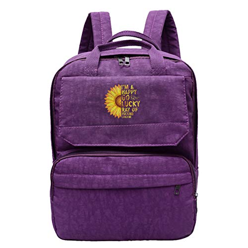 I'm A Happy Go Lucky Ray of Fucking Sunshine Womens Travel Backpack Shoulders Bags Daypack Laptop Bag