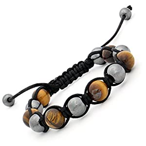 Alternate Hematite Tiger's Eye Gem Stone BEADS Adjustable Shamballa Bracelet for Men Women
