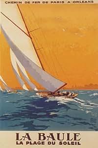 paris orleans sailboat sail boat la baule la plage du soleil france french 20 x 30. Black Bedroom Furniture Sets. Home Design Ideas
