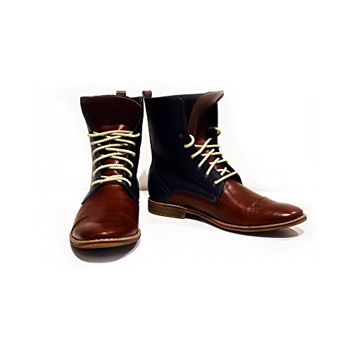 PeppeShoes Modello Fiorentina - 12 US - Handmade Italian Mens Brown High Boots - Cowhide Smooth Leather - Lace-up (Italian Handmade Brown Leather Boots)