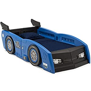 Delta Children Grand Prix Race Car Toddler and Twin Bed, Blue 8