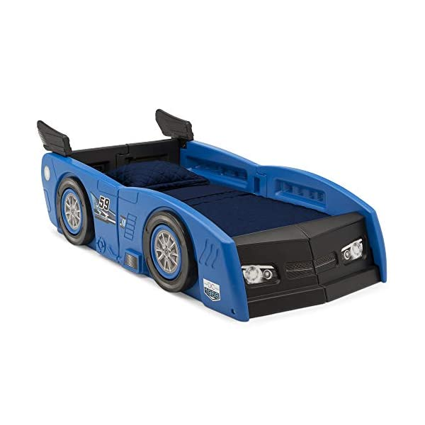 Delta Children Grand Prix Race Car Toddler and Twin Bed, Blue 1