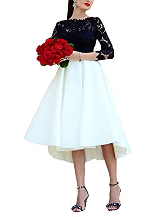 Sogala Black White High Low Prom Dresses Homecoming Gowns 3/4 Long Sleeves Lace Prom Evening Gowns