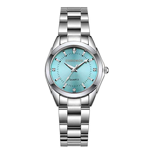 Chronos Women Girls Silver Stainless Steel Quartz Waterproof Watch Round Analog Light Blue Dial