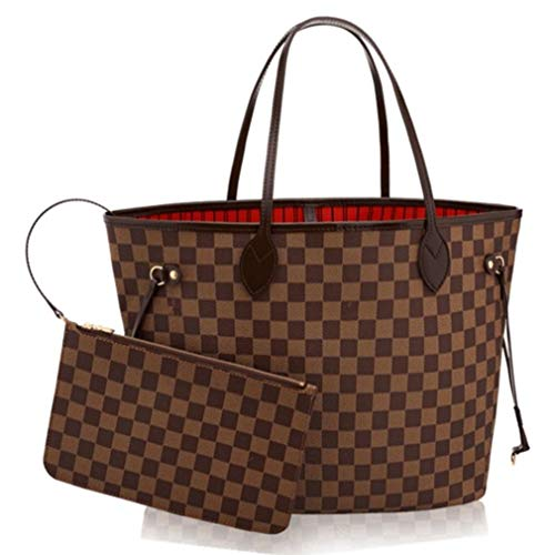 - Lotwxa Ladies Shopper Checkered Handbag Women Top Handle Designer Party Tote bag Brown(Red) 40x32x20cm