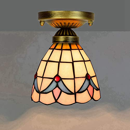 Semi Flush Mount Pendant Hanging Light Fixture Tiffany Ceiling Fixture Lamp Warm Yellow Art Colorful Glass Shade, W6 xH7 Inch, E27 110-240V,B