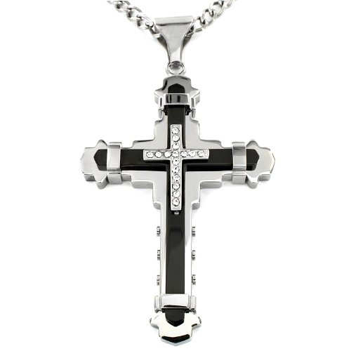 Crucible Black IP Two-Tone Stainless Steel Cubic Zirconia Layered Cross Pendant Curb Chain Necklace - 24