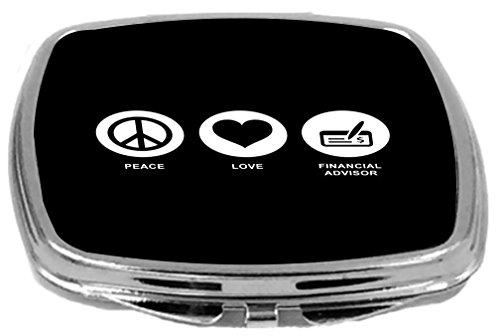 Rikki Knight Peace Love Financial Advisor Design Compact Mirror  Black  2 Ounce
